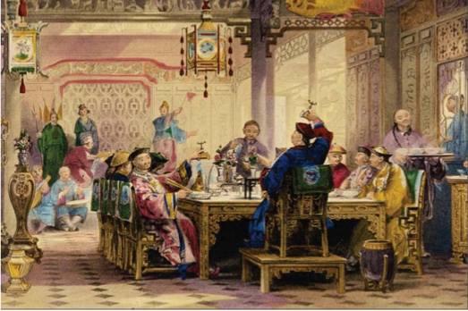 Middag hemma hos en mandarin av Thomas Allom